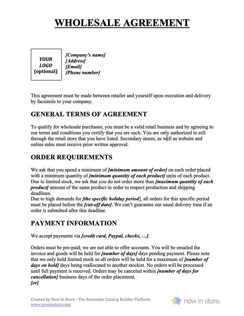 Wholesale Contract Template Create Your Own For Free