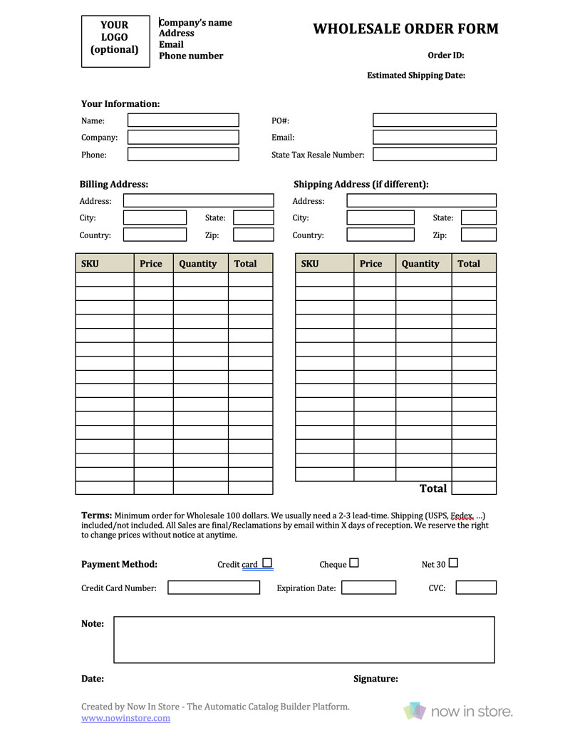 order form image  template order form - Fitbo.wpart.co